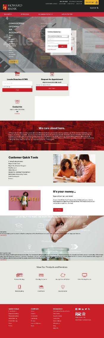 Howard Bancorp, Inc. Website Screenshot