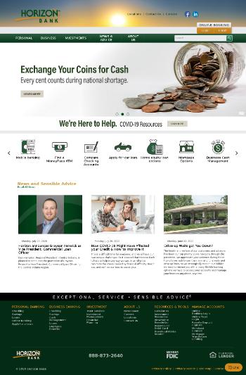 Horizon Bancorp, Inc. Website Screenshot