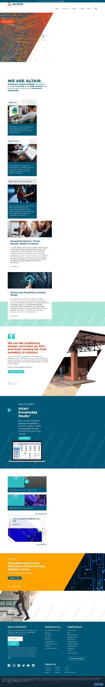 Altair Engineering Inc. Website Screenshot