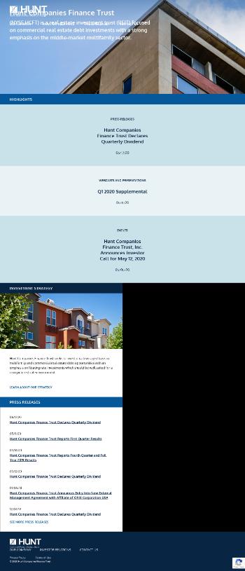 Hunt Companies Finance Trust, Inc. Website Screenshot