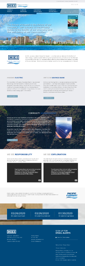 Hawaiian Electric Industries, Inc. Website Screenshot