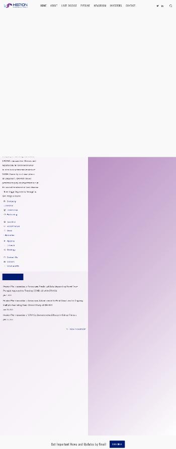 Hepion Pharmaceuticals, Inc. Website Screenshot
