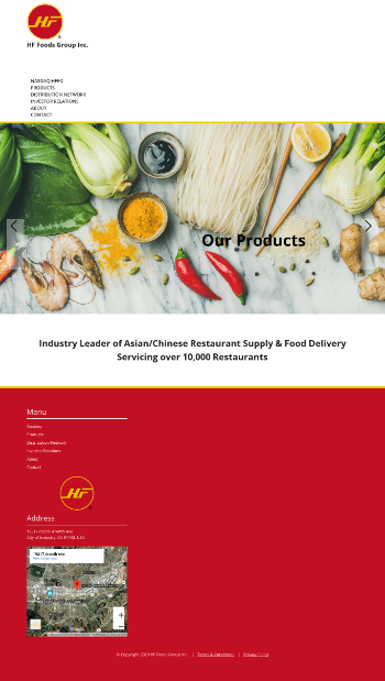 HF Foods Group Inc. Website Screenshot