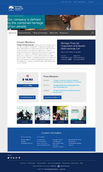 Heritage Financial Corporation Website Screenshot