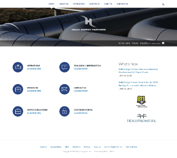 Holly Energy Partners, L.P. Website Screenshot