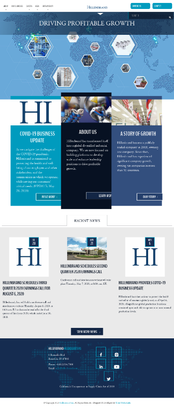Hillenbrand, Inc. Website Screenshot