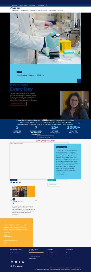 Alexion Pharmaceuticals, Inc. Website Screenshot