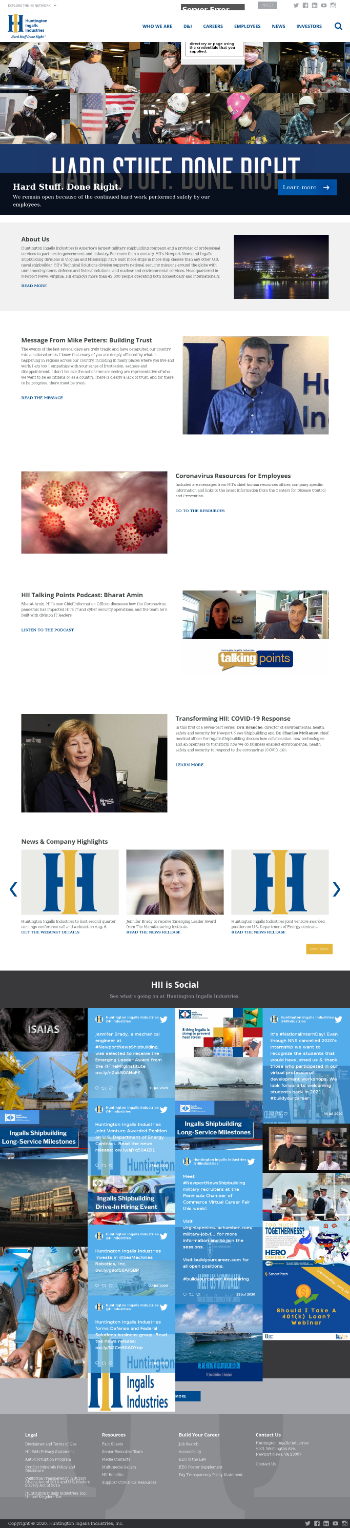 Huntington Ingalls Industries, Inc. Website Screenshot