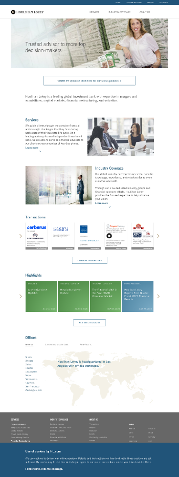 Houlihan Lokey, Inc. Website Screenshot