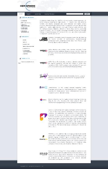 Hemisphere Media Group, Inc. Website Screenshot