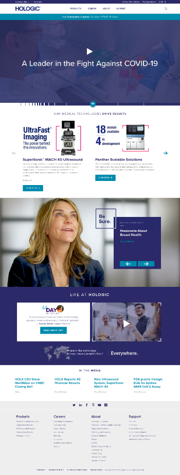 Hologic, Inc. Website Screenshot