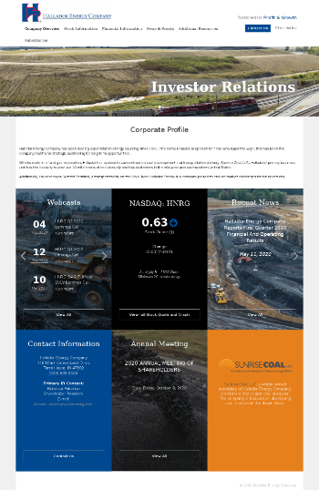 Hallador Energy Company Website Screenshot