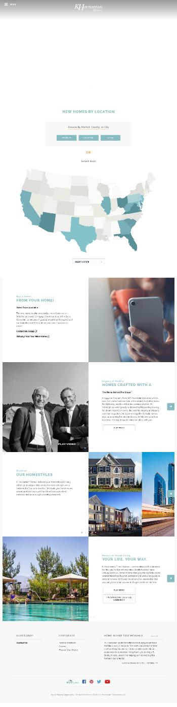 Hovnanian Enterprises, Inc. Website Screenshot