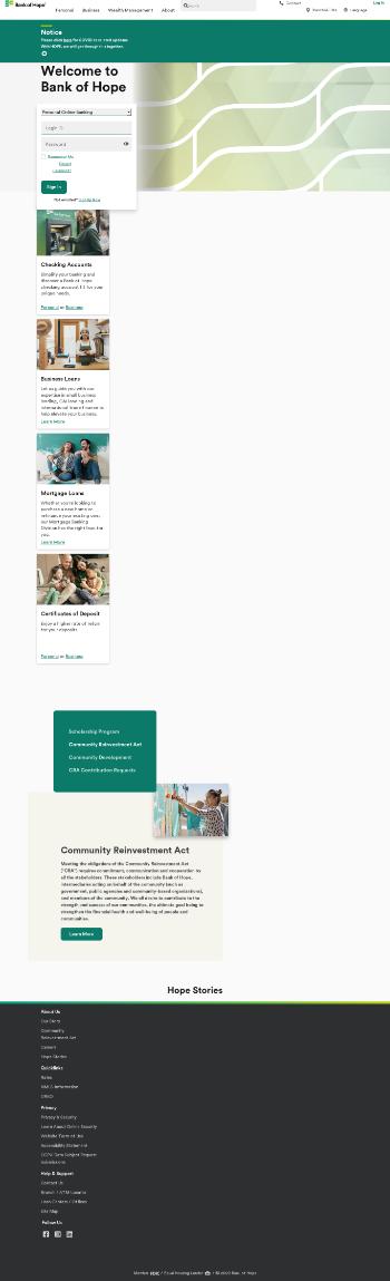 Hope Bancorp, Inc. Website Screenshot