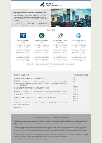 Tekla Healthcare Investors Website Screenshot