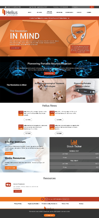 Helius Medical Technologies, Inc. Website Screenshot