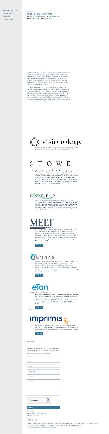 Harrow Health, Inc. Website Screenshot