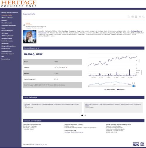 Heritage Commerce Corp Website Screenshot
