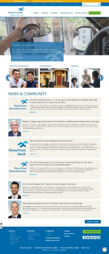 HomeTrust Bancshares, Inc. Website Screenshot
