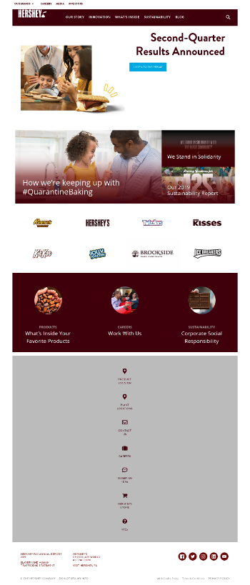 The Hershey Company Website Screenshot