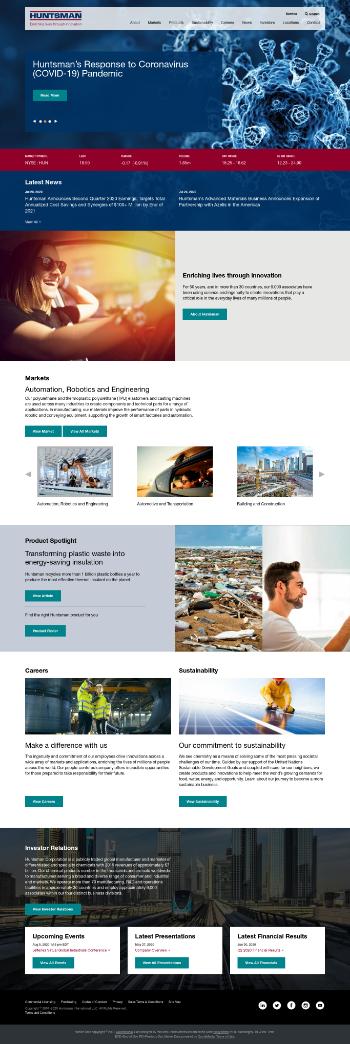 Huntsman Corporation Website Screenshot