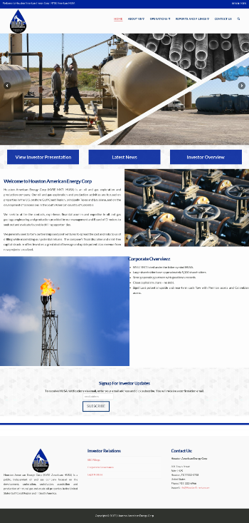 Houston American Energy Corp. Website Screenshot