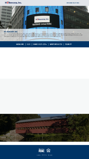 HV Bancorp, Inc. Website Screenshot