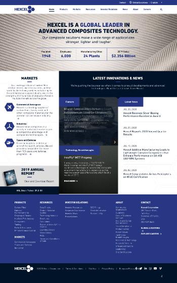 Hexcel Corporation Website Screenshot