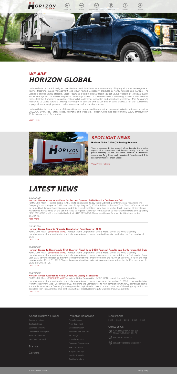 Horizon Global Corporation Website Screenshot