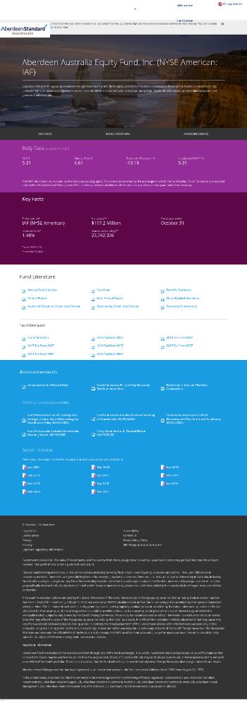 Aberdeen Australia Equity Fund, Inc. Website Screenshot