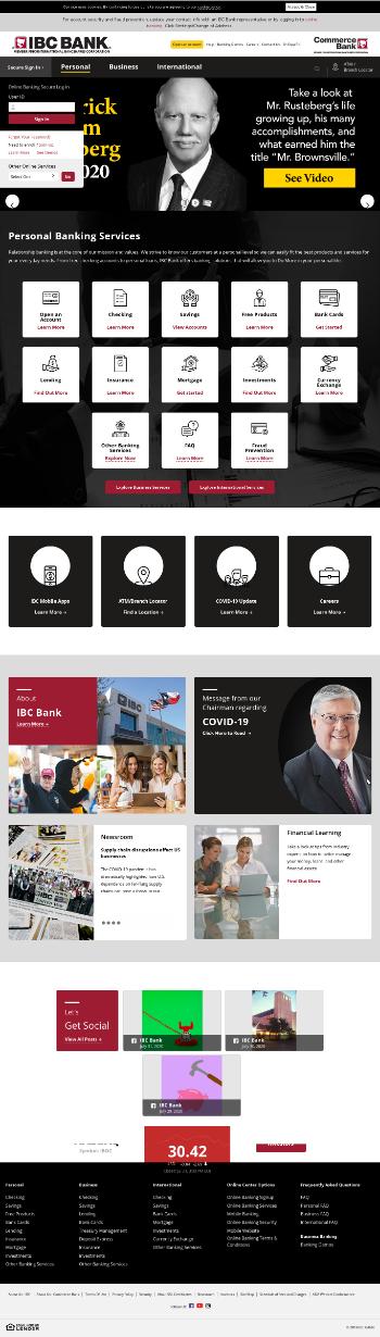 International Bancshares Corporation Website Screenshot