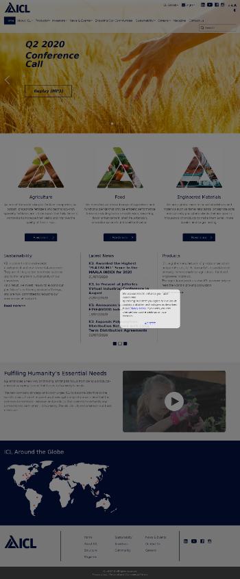 ICL Group Ltd Website Screenshot