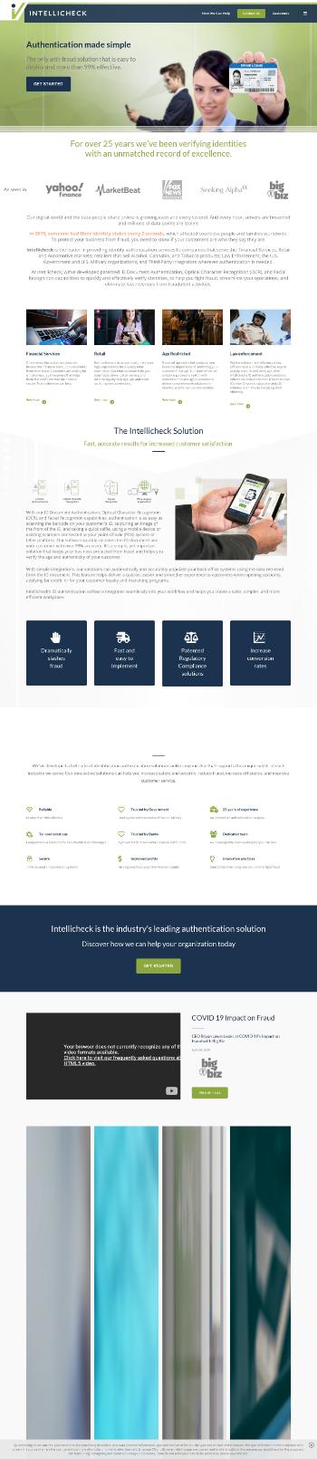Intellicheck, Inc. Website Screenshot