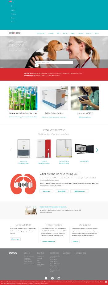 IDEXX Laboratories, Inc. Website Screenshot