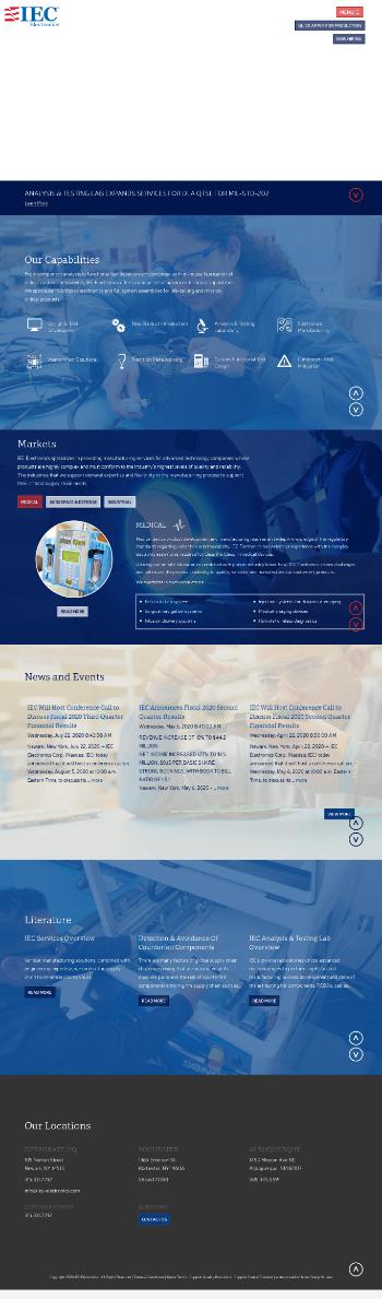 IEC Electronics Corp. Website Screenshot