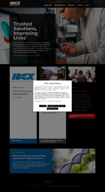 IDEX Corporation Website Screenshot