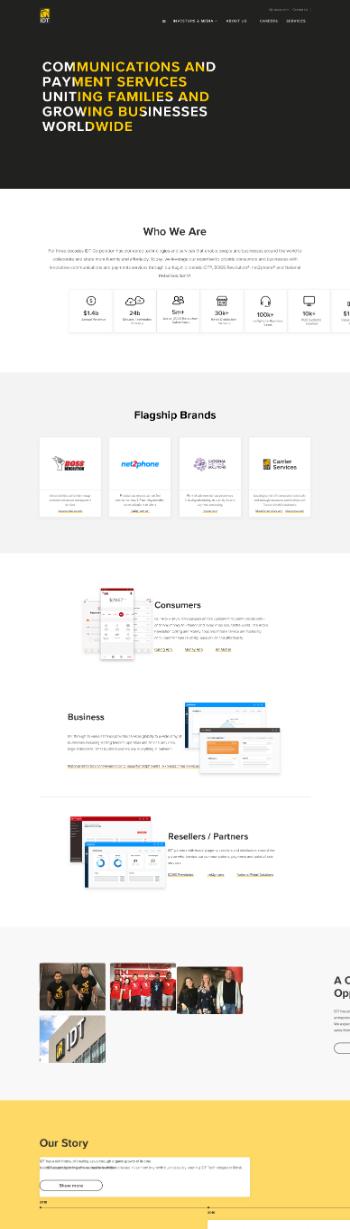 IDT Corporation Website Screenshot