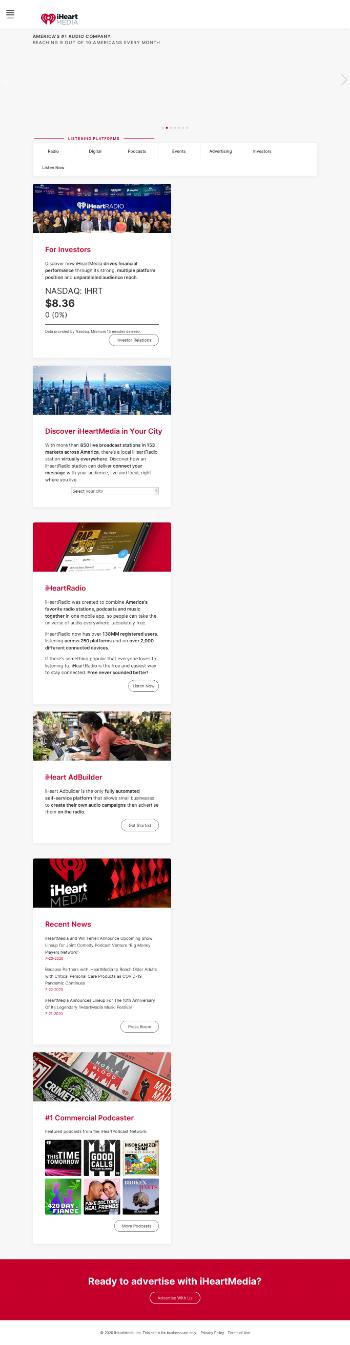 iHeartMedia, Inc. Website Screenshot