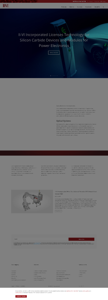 II-VI Incorporated Website Screenshot
