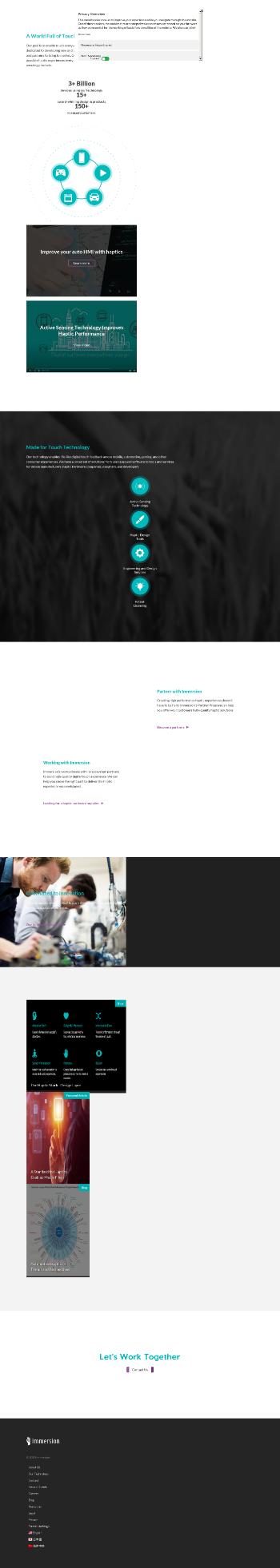 Immersion Corporation Website Screenshot