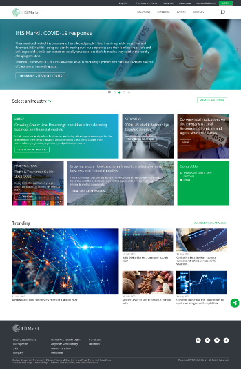 IHS Markit Ltd. Website Screenshot