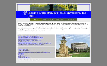 Income Opportunity Realty Investors, Inc. Website Screenshot