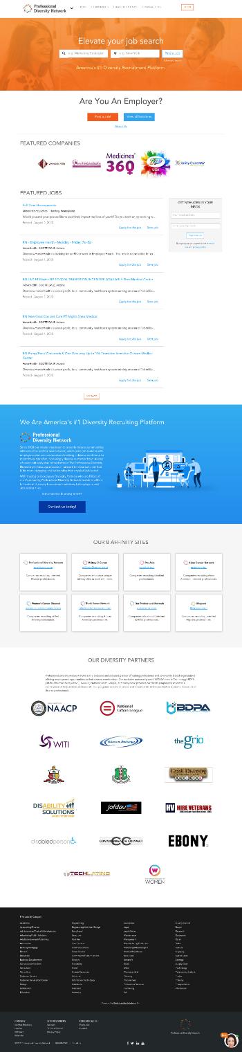 Professional Diversity Network, Inc. Website Screenshot