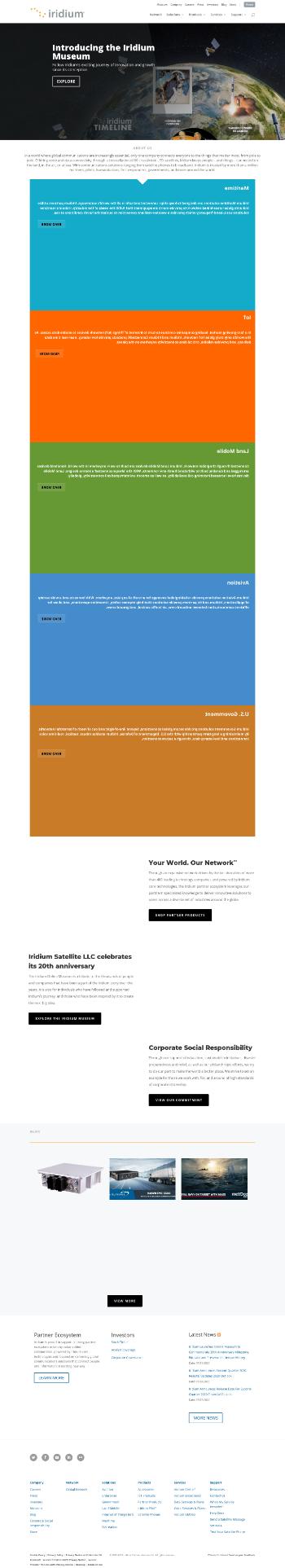 Iridium Communications Inc. Website Screenshot