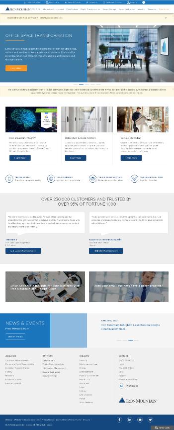 Iron Mountain Incorporated Website Screenshot