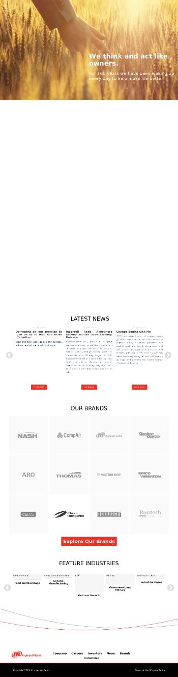 Ingersoll Rand Inc. Website Screenshot