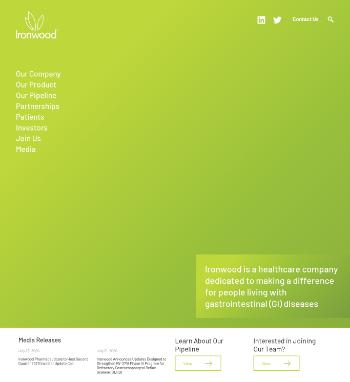 Ironwood Pharmaceuticals, Inc. Website Screenshot