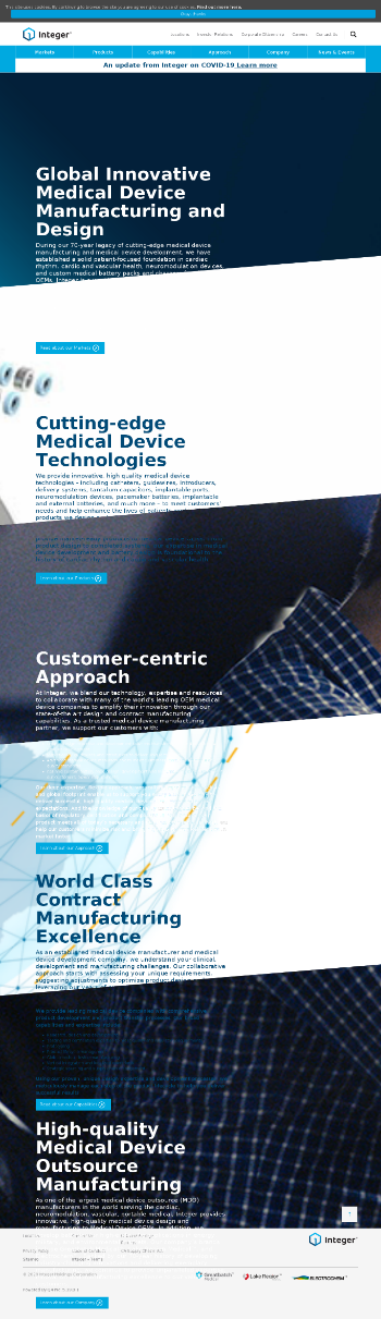 Integer Holdings Corporation Website Screenshot