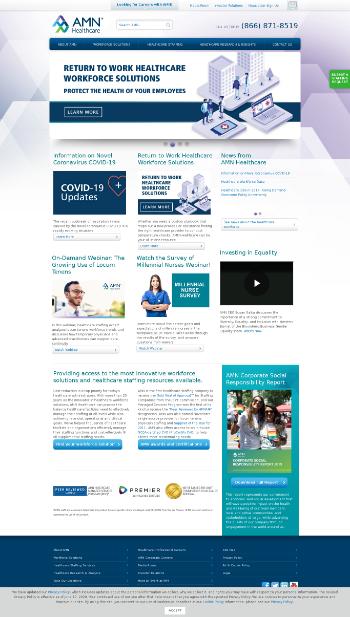 AMN Healthcare Services, Inc. Website Screenshot