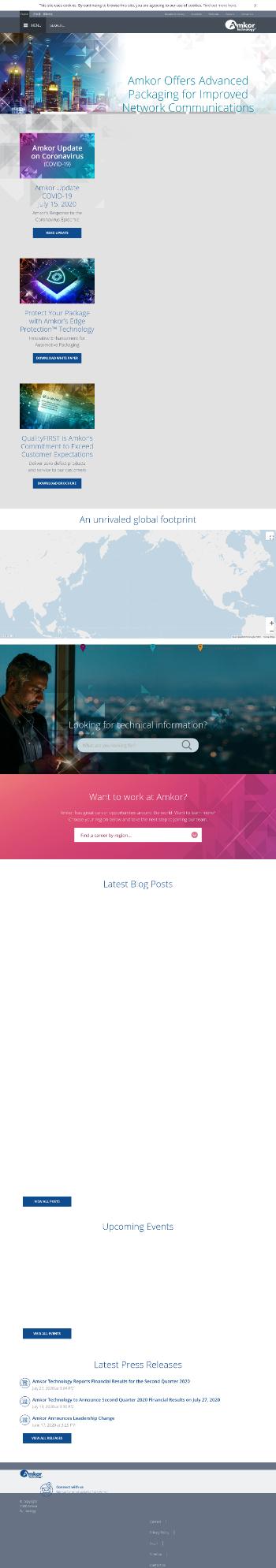 Amkor Technology, Inc. Website Screenshot